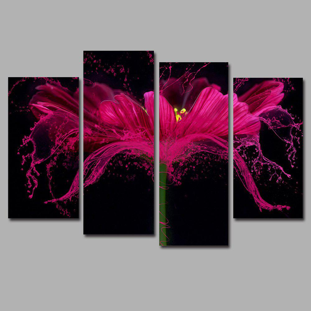 Flower Splash Frameless Printed Canvas  Art Print 4PCS - multicolor A