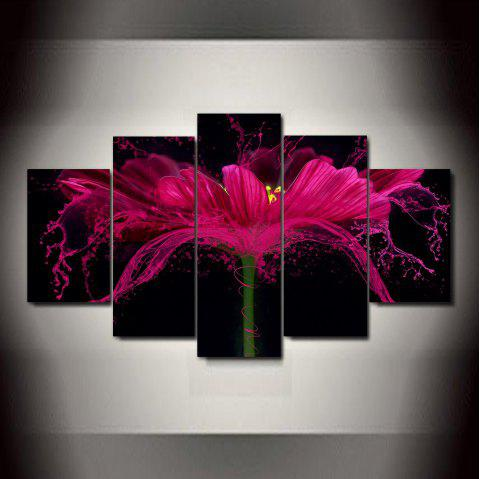 Flower Splash   Frameless Printed Canvas Art Print 5PCS - multicolor A