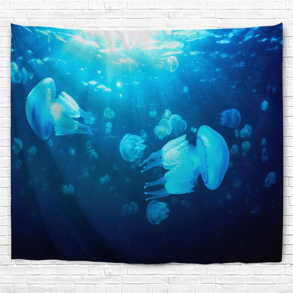 Undersea Jellyfish 3D Printing Home Wall Hanging Tapestry for Decoration - multicolor A W203CMXL153CM