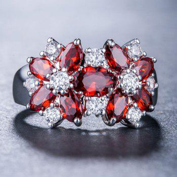Artificial Diamond Crystal Flower Ring - RED US SIZE 10