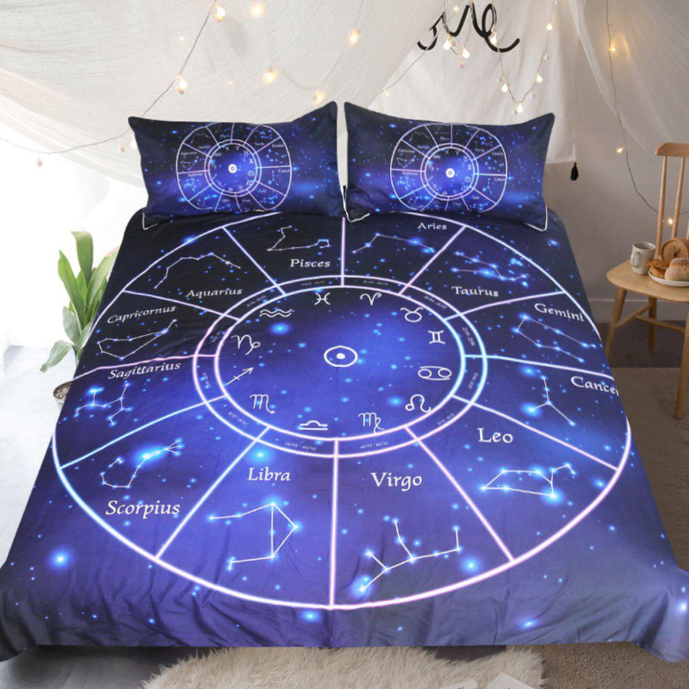 Twelve Constellations Bedding Duvet Cover Set Digital Print 3pcs - multicolor KING