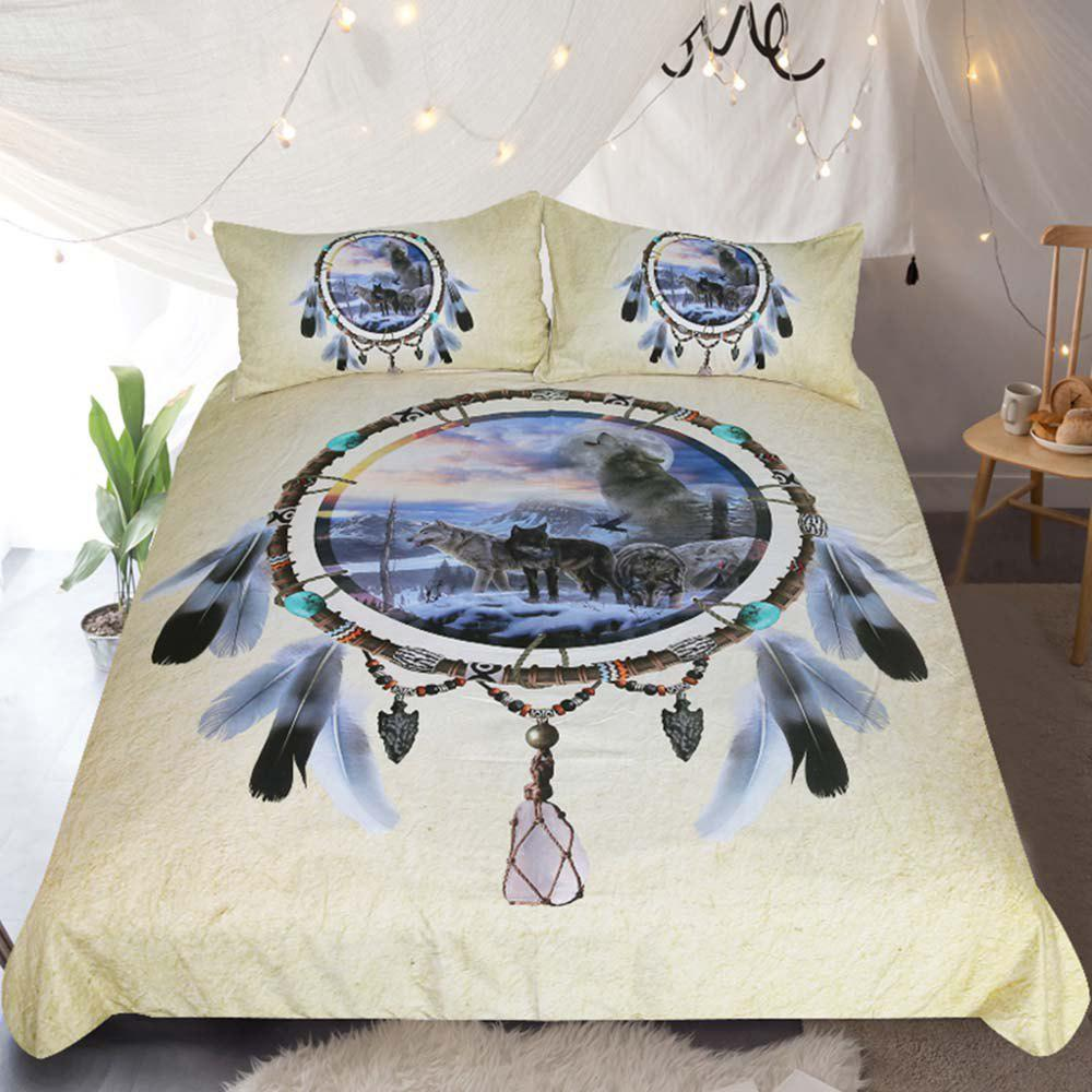 Dreamcatcher Bedding 3D Wolf Duvet Cover Set Digital Print 3pcs cartoon tree duvet cover set