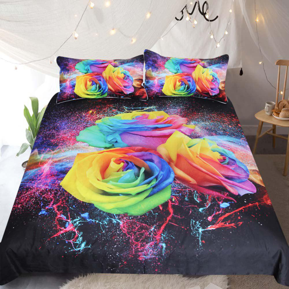 Colorful Roses Bedding Duvet Cover Set Digital Print 3pcs - multicolor QUEEN