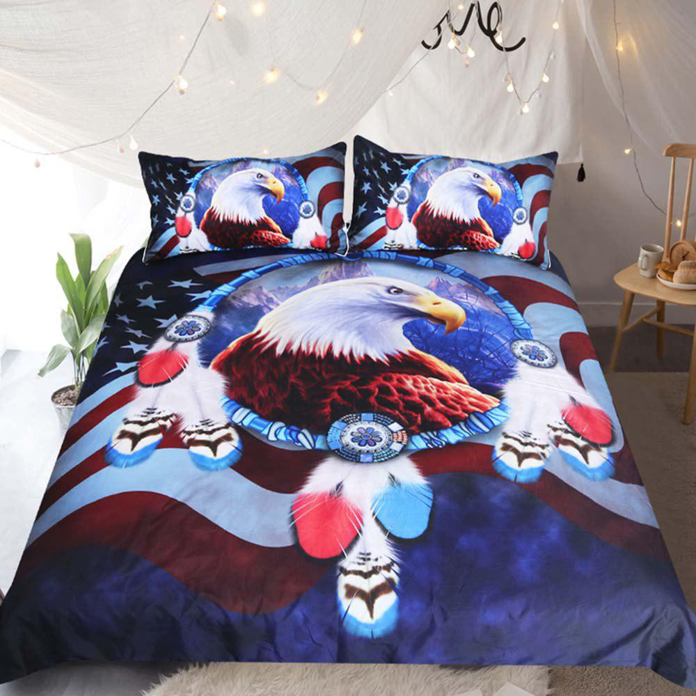 Eagle Dreamcatcher Bedding Duvet Cover Set Digital Print 3pcs cartoon tree duvet cover set