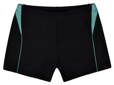 Men Breathable Comfortable Tight Boxer Swimming Trunks - NATURAL BLACK XL