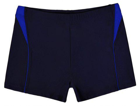 Men Breathable Comfortable Tight Boxer Swimming Trunks - NAVY BLUE XL