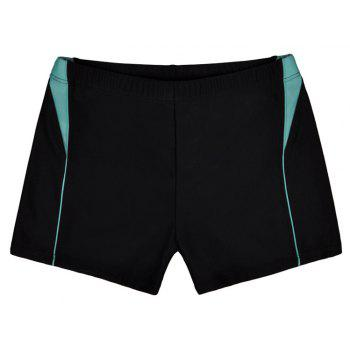Men Breathable Comfortable Tight Boxer Swimming Trunks - NATURAL BLACK 2XL