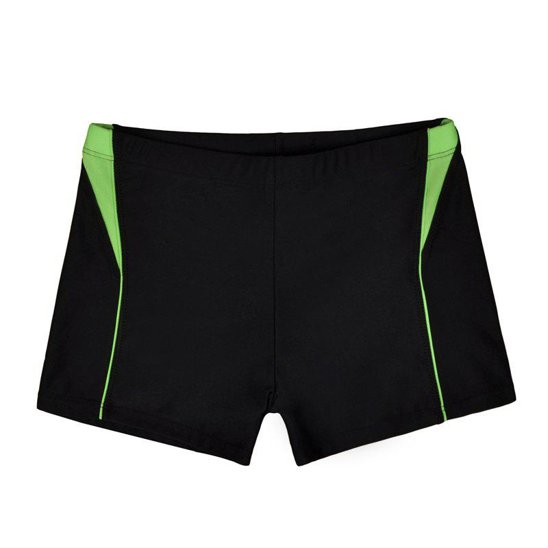 Men Breathable Comfortable Tight Boxer Swimming Trunks - BLACK 2XL
