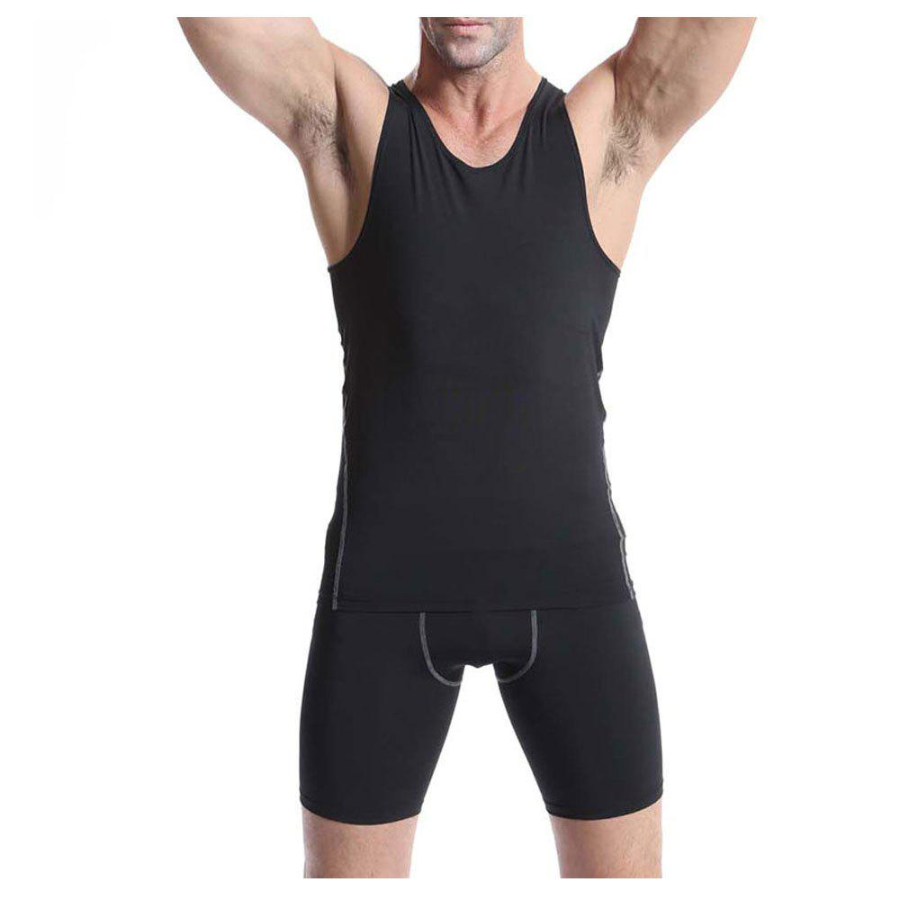 PRO Men's Training  Basketball Fitness Running Speed Dry Sports Vest - BLACK L
