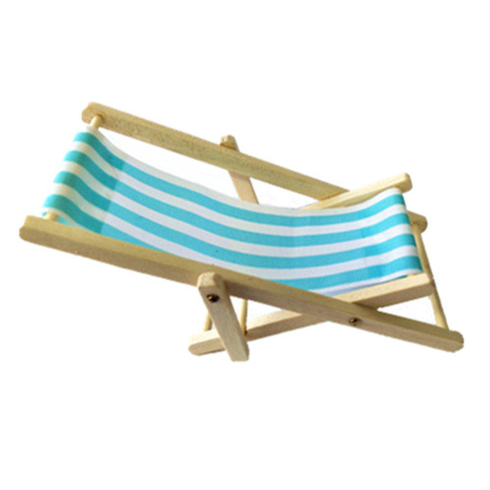 Mini Furniture Model Finished Stripe Wooden Deck Chair upholstered armchair chair brown finished leg wooden low seat contemporary lounge chair living room furniture reclining recliner