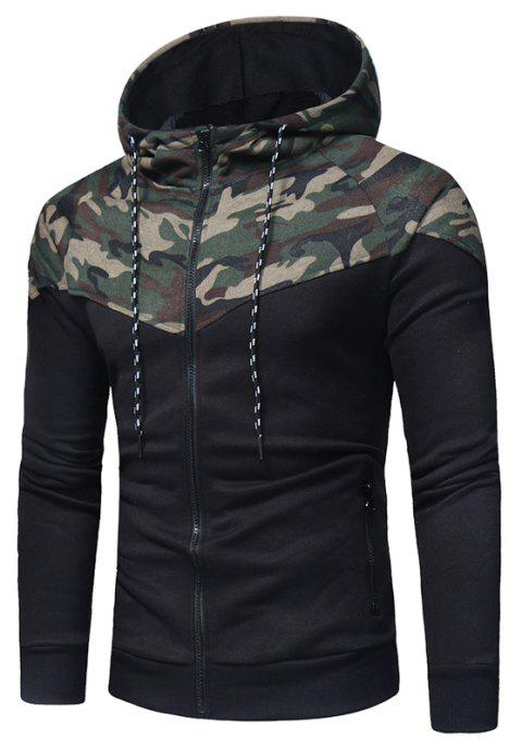 Classic Camo Stitching Men's Casual Slim Zipper Hoodie - CAMOUFLAGE GREEN 2XL