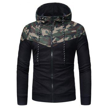 Classic Camo Stitching Men's Casual Slim Zipper Hoodie - CAMOUFLAGE GREEN 3XL