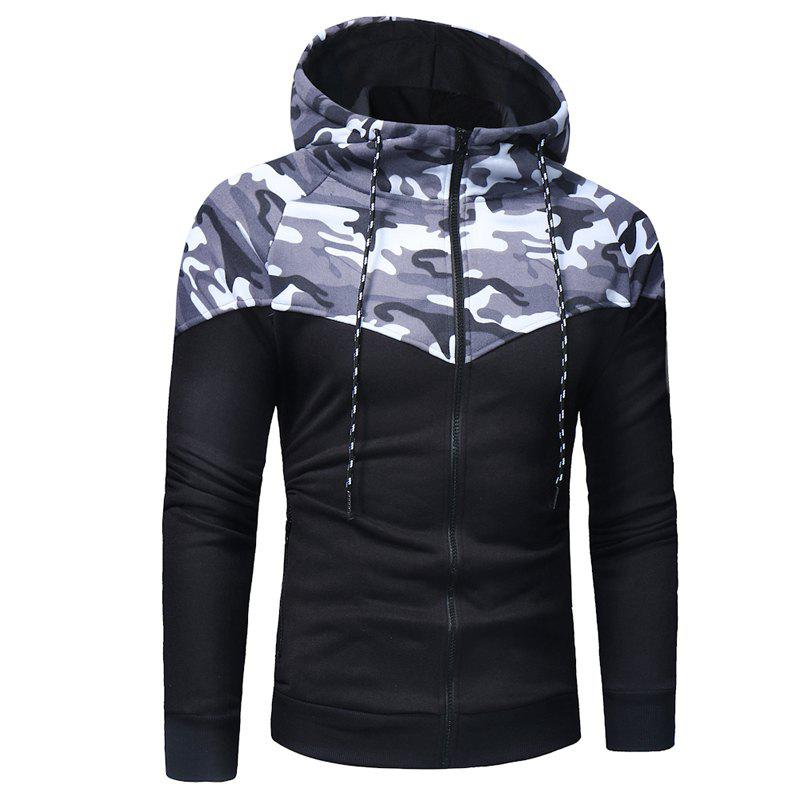 Classic Camo Stitching Men's Casual Slim Zipper Hoodie - GRAY M