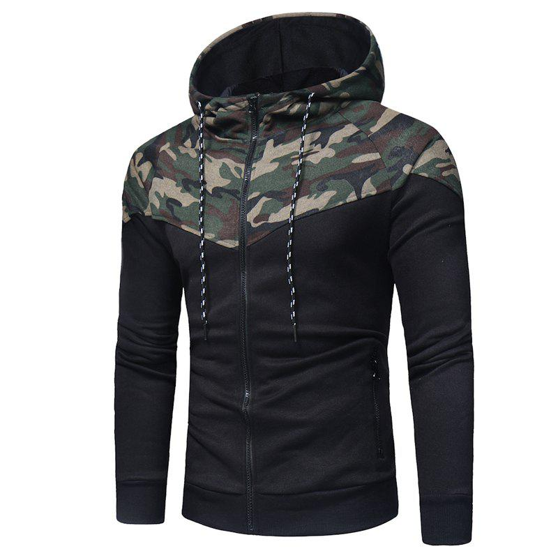 Classic Camo Stitching Men's Casual Slim Zipper Hoodie - CAMOUFLAGE GREEN L