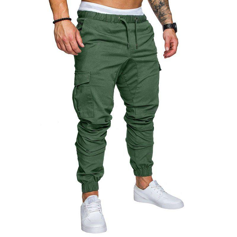 Leisure Tethers Elastic Pants Men's Trousers - ARMY GREEN L