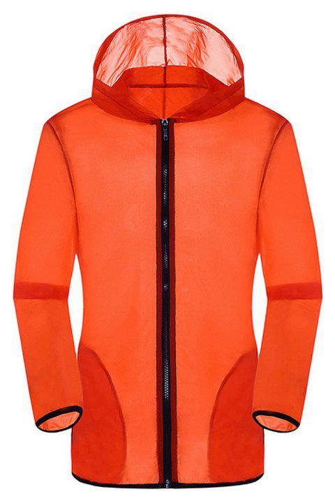 New Summer Ultra-Thin Breathable Long Sleeve Sun Protection Clothing - ORANGE M
