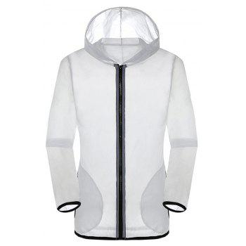 New Summer Ultra-Thin Breathable Long Sleeve Sun Protection Clothing - WHITE L