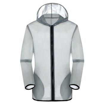New Summer Ultra-Thin Breathable Long Sleeve Sun Protection Clothing - LIGHT GRAY M