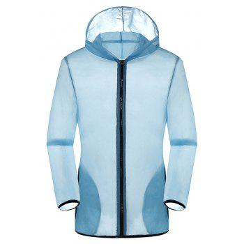 New Summer Ultra-Thin Breathable Long Sleeve Sun Protection Clothing - LIGHT BLUE M