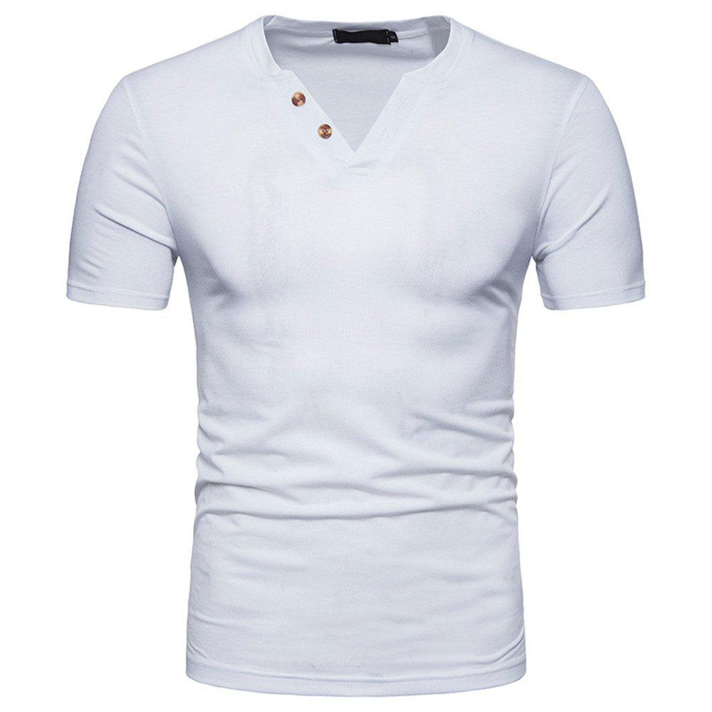Men V-Neck Fashion Short-Sleeved T-Shirt - WHITE 2XL