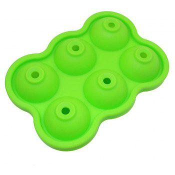 2pcs 6 Hole Silicone Whiskey Ice Hockey Mold Cube Tray DIY Bar Kitchen Tool - NEBULA GREEN