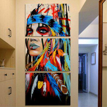 Art Indian and Decorative Oil Painting 3PCS - multicolor A