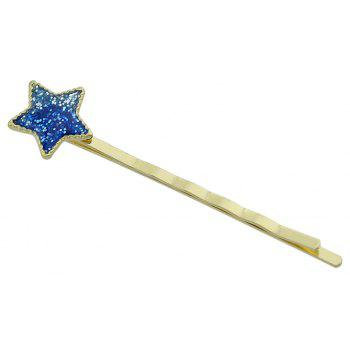 Gold-color Barrettes Yellow Blue Color Star Pattern - ROYAL BLUE