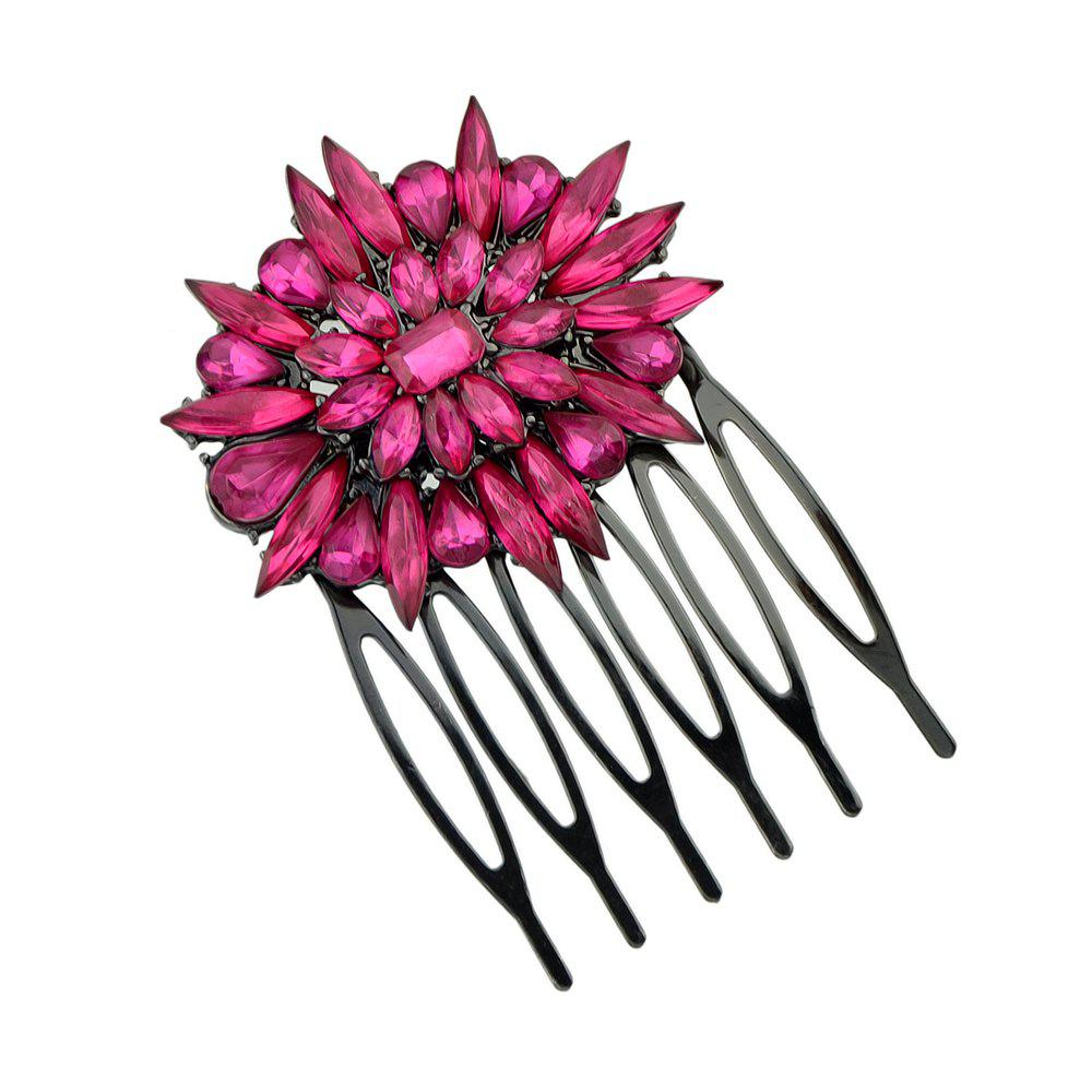 Black Color Leaf Hair Combs with Hotpink Rhinestone Flower - ROSE RED