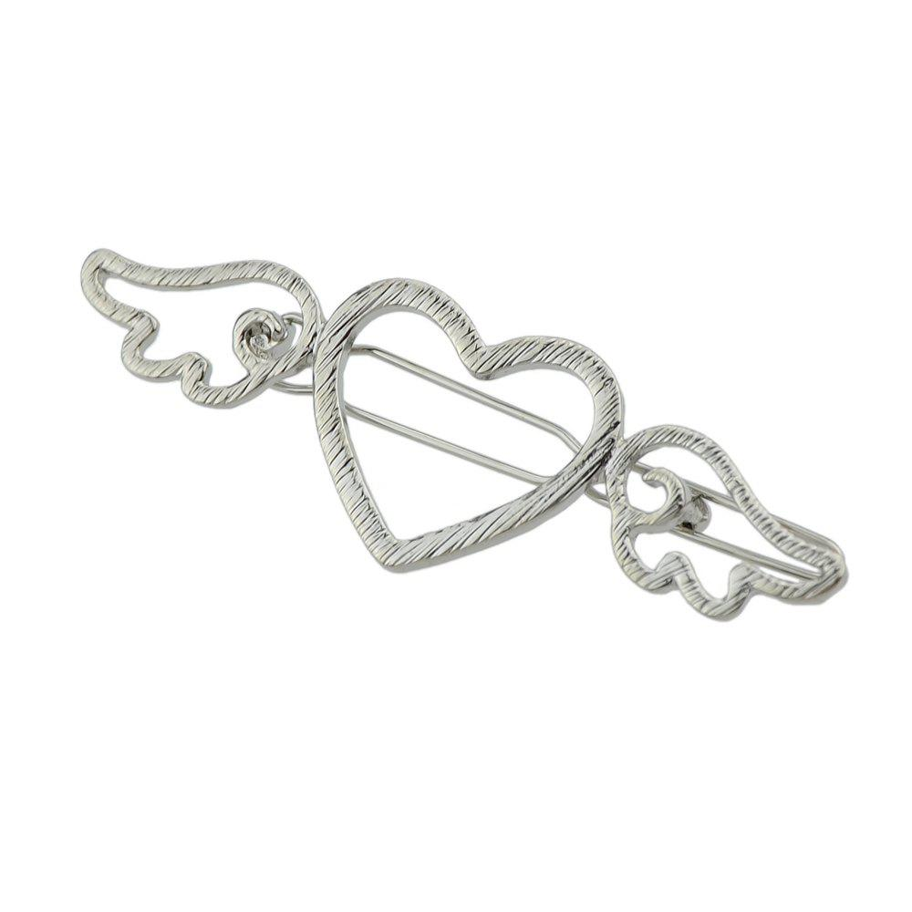 Gold-color Silver Color Heart Wings Pattern Hairgrips - SILVER