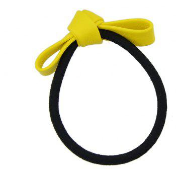 Black Elastic Rope Bowknot Shape PU Headbands - YELLOW