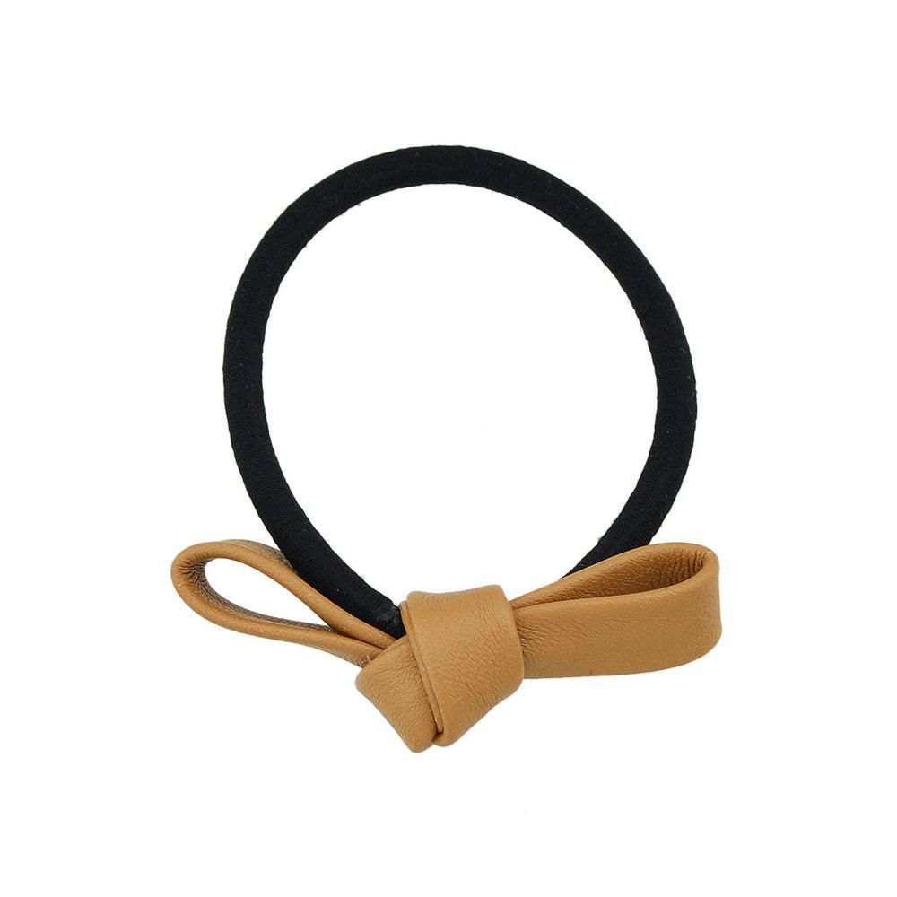 Black Elastic Rope Bowknot Shape PU Headbands - CINNAMON