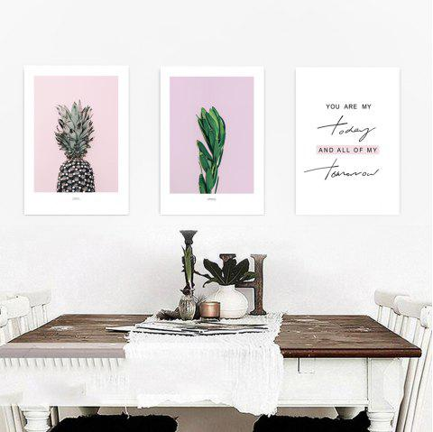 W346 Letters Pineapple Unframed Wall Canvas Prints for Home Decorations 3PCS - multicolor A 42CM X 60CM X 3PCS