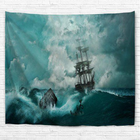 Cyan Waves 3D Printing Home Wall Hanging Tapestry for Decoration - multicolor A W153CMXL130CM