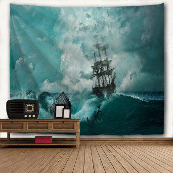 Cyan Waves 3D Printing Home Wall Hanging Tapestry for Decoration - multicolor A W229CMXL153CM