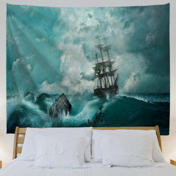 Cyan Waves 3D Printing Home Wall Hanging Tapestry for Decoration - multicolor A W230CMXL180CM