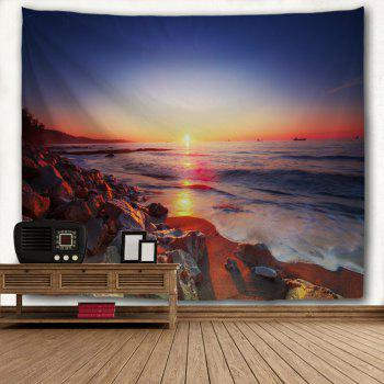 Seaside Stone Heap 3D Printing Home Wall Hanging Tapestry for Decoration - multicolor A W153CMXL130CM
