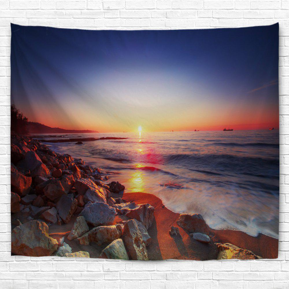 Seaside Stone Heap 3D Printing Home Wall Hanging Tapestry for Decoration - multicolor A W200CMXL180CM
