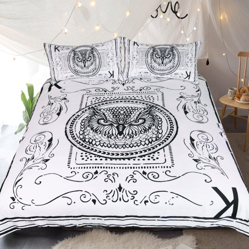 Owl Bedding  Animal Card Printed Duvet Cover Set 3pcs - multicolor KING