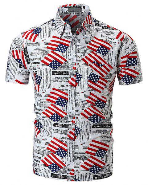 Printed National Flag Short-sleeved Shirt - WHITE M