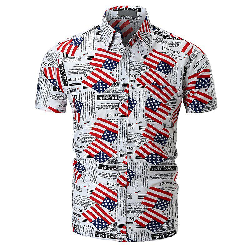 Printed National Flag Short-sleeved Shirt - WHITE L