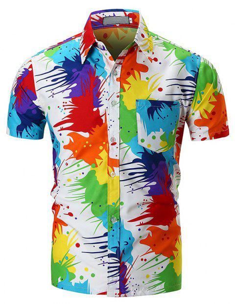 Personality Colorful Short-sleeved Shirt - WHITE M