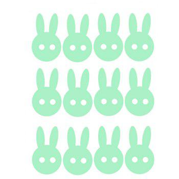 Noctilucent Engraving Adorable Rabbit Cartoon Switch Wall Sticker - STOPLIGHT GO GREEN