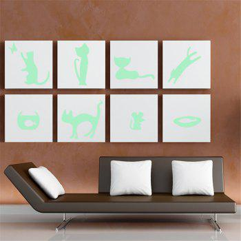 Noctilucent Engraving Adorable Naughty Cat Cartoon Switch Wall Sticker - STOPLIGHT GO GREEN