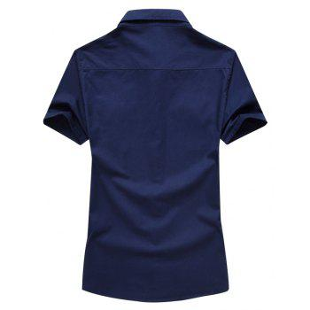 Men Shirt Solid Color Short Sleeve Turn Down Collar Fashion Top Shirt - DEEP BLUE 3XL