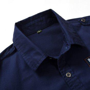 Men Shirt Solid Color Short Sleeve Turn Down Collar Fashion Top Shirt - DEEP BLUE 4XL
