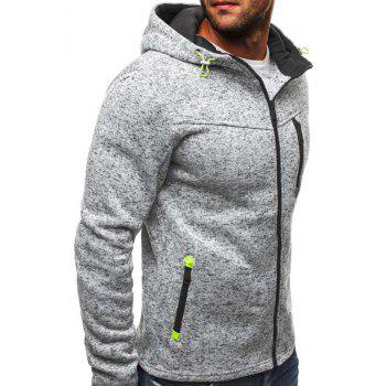 New Autumn and Winter Contrast Color Slim Thickened Fleece Coat - GRAY GOOSE XL
