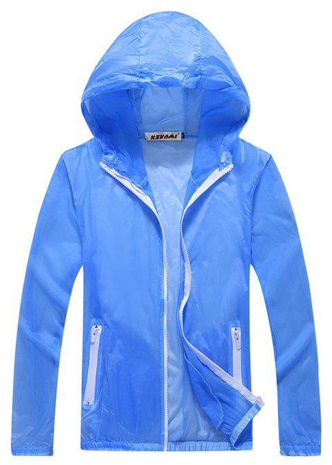 Men and Women Summer Thin Skin Clothes Dry Exercise Sun Protection Jacket - LIGHT BLUE 2XL