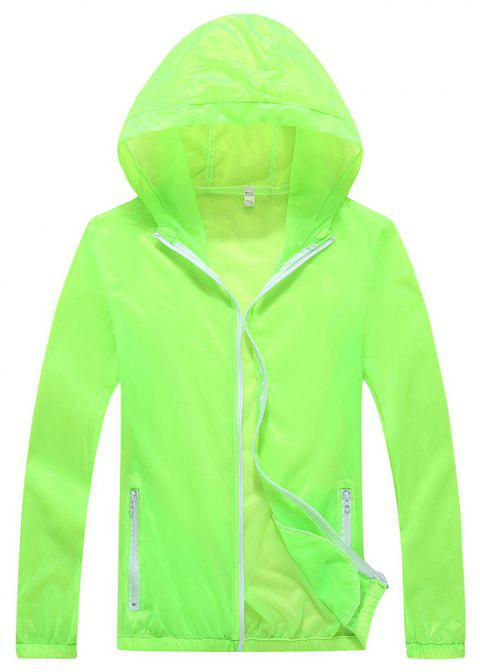 Men and Women Summer Thin Skin Clothes Dry Exercise Sun Protection Jacket - GREEN YELLOW M