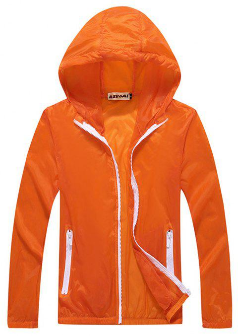Men and Women Summer Thin Skin Clothes Dry Exercise Sun Protection Jacket - DARK ORANGE S