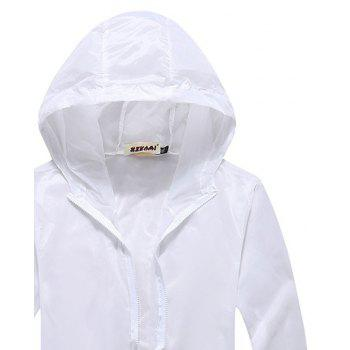 Men and Women Summer Thin Skin Clothes Dry Exercise Sun Protection Jacket - WHITE XL